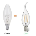 برابری نور لامپ LED چهار وات با لامپ شمعی 40 وات