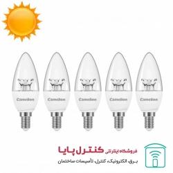 لامپ LED شمعی کریستالی آفتابی 6 وات کملیون Camelion پک پنج عددی