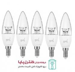 لامپ LED شمعی کریستالی 6 وات مهتابی 5 تایی پارسه شید