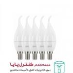 لامپ LED شمعی اشکی مات 6 وات مهتابی 5 تایی پارسه شید
